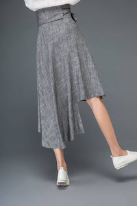 Gray linen skirt, linen womens skirt, summer linen skirt, midi skirt, asymmetrical skirt, bow skirt, pleated skirt, flare skirt C1159