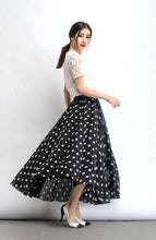 Load image into Gallery viewer, Chiffon skirt, Polka dot skirt, maxi skirt, long polka dot skirt, summer skirt, long skirt, maxi chiffon skirt, women skirt black C481