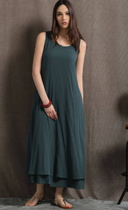 Layered Linen Maxi Dress - Long Sage Green Casual Everyday Comfortable Loose-Fitting Plus Size Women's Dress (C414)