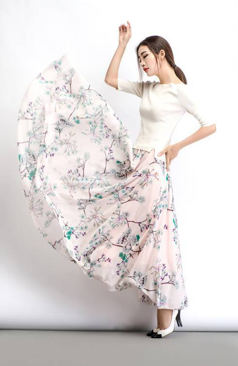 Maxi skirt, chiffon skirt, womens skirts, floral skirt, summer skirt, long skirt, flare skirt, elastic skirt, flower skirt, loose skirt C486