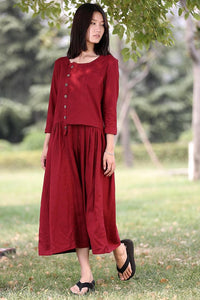 Asymmetrical Linen Maxi dress C0265