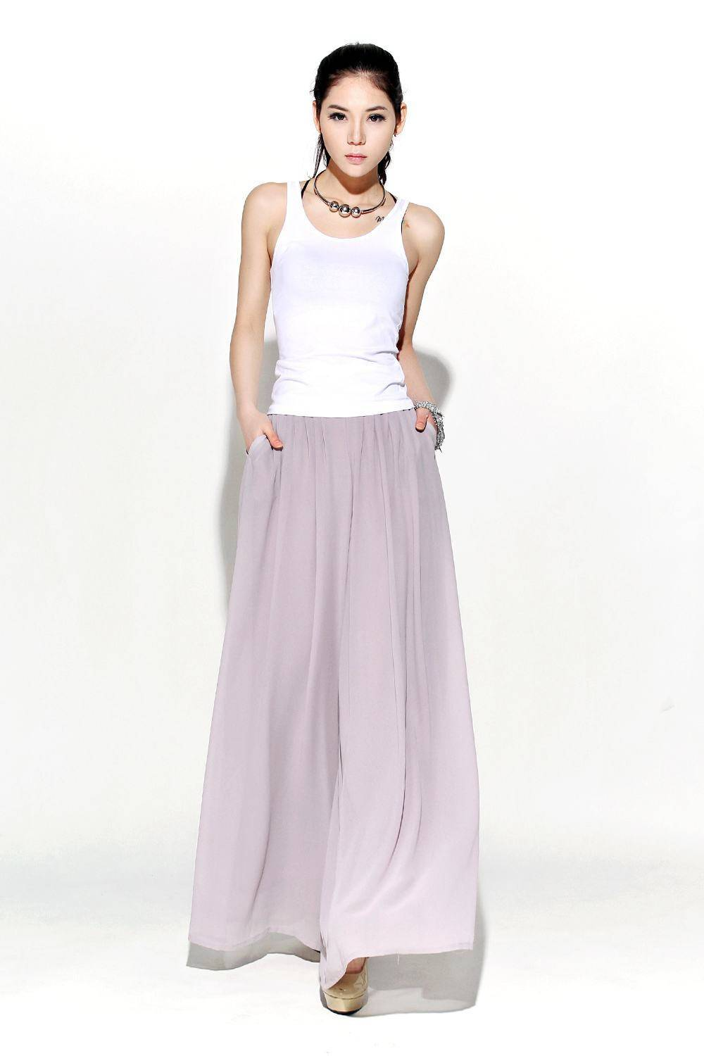 Gray Chiffon Palazzo Pants - Elegant Wide-Leg Maxi Pants Long Culottes Mother-of-the-Bride Wedding Outfit (C114)