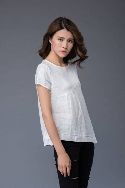 White linen T-shirt, irregular T-shirt, round neck ,loose fit T- Shirt, casual women T-shirt C949