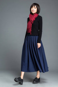 Blue wool skirt, long skirt, wool skirt, winter skirt, womens skirt, blue skirt, pleated skirt, skirt with pockets, long wool skirt C1213