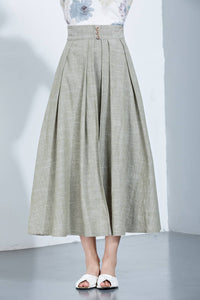 Linen Skirt, Pleated Skirt, Midi Skirt, Loose Skirt, Summer Skirt, Long Skirt, Womens Skirt, layered skirt, high waist skirt, handmade C1136