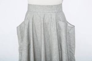 grey linen skirts, midi linen skirt, womens skirts gray, skirts with pockets, tea length skirt, grey long skirts, long grey skirts C1067