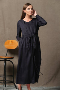 Black Dress, pleated dress, long linen dress, causal dress, linen dress, summer dress, long sleeve dress, maxi dress, loose dress C557