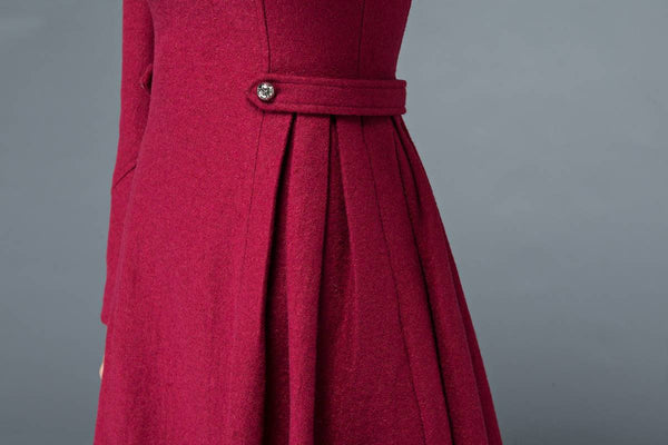 Mini dress, mini wool dress,  winter dress, red wool dress, pleated dress, square neck dress, winter wool dress, vintage dresses C1200