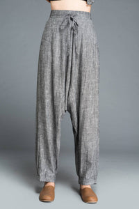 gray pants, loose pants, maxi pants, drop crotch pants, linen pants, baggy pants, yoga pants, gray linen pants, womens pants C1201