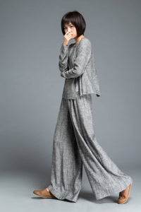 gray linen pants, linen pants, long linen pants, woman pants, loose pants, palazzo pants, wide leg pants, handmade pants, summer pants C1202