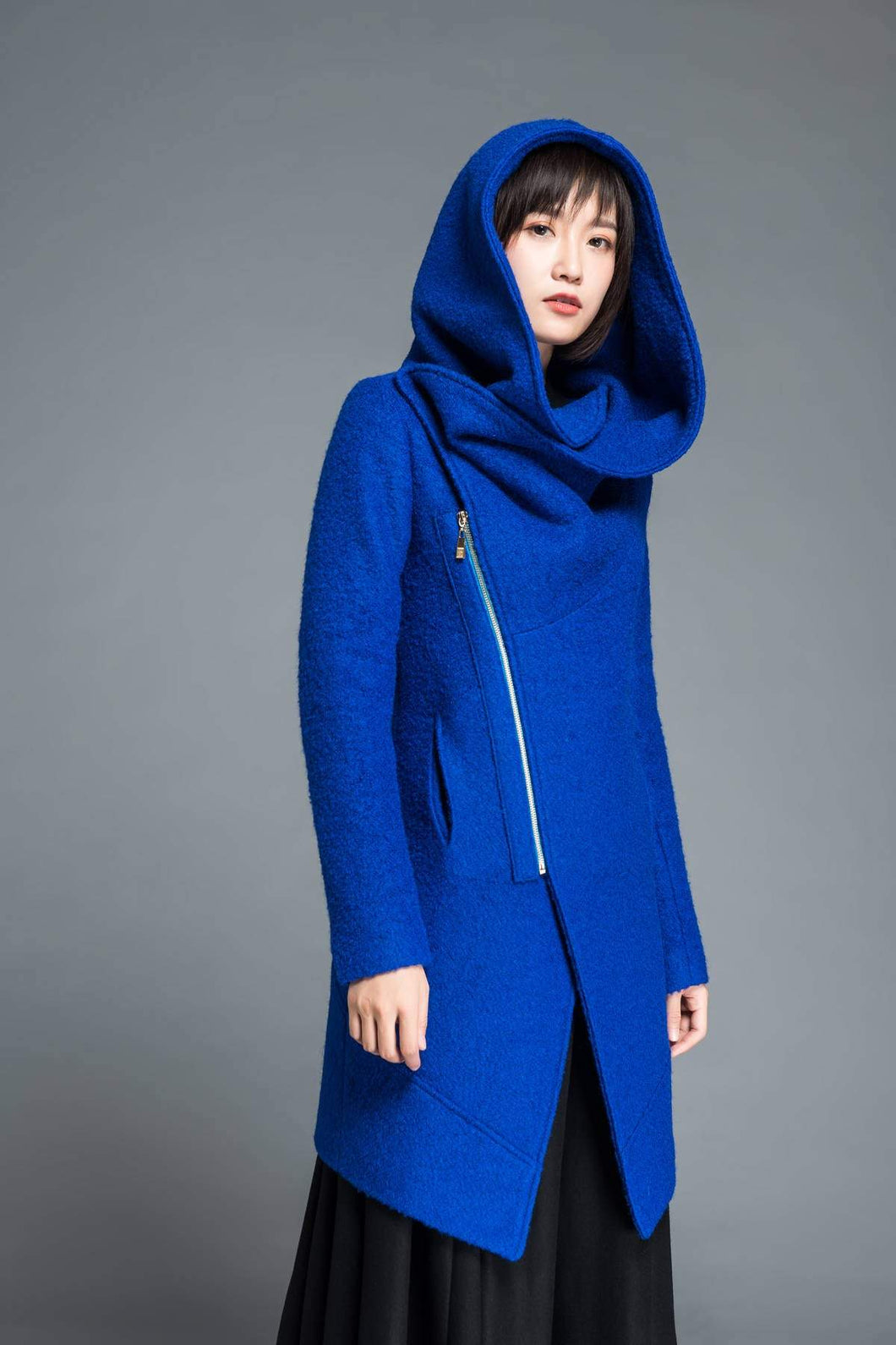 Womens coat, wool coat, blue coat, winter coat, asymmetrical coat, hoody coat, cowl neck coat, plus size coat, winter wool coat C1212