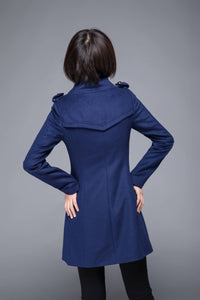 warm winter coat, blue coat, wool coat, womens jackets, midi jacket, coat, jackets, winter coat, fitted coat, pockets coat, C1216
