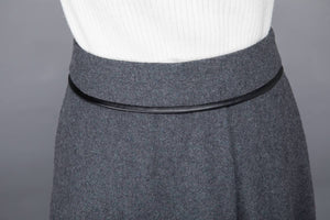 wool skirt, gray skirt, womens skirt, wool pleated skirt, wool wrap skirt, winter skirt, gray wool skirt, pockets skirt, long skirt  c1223