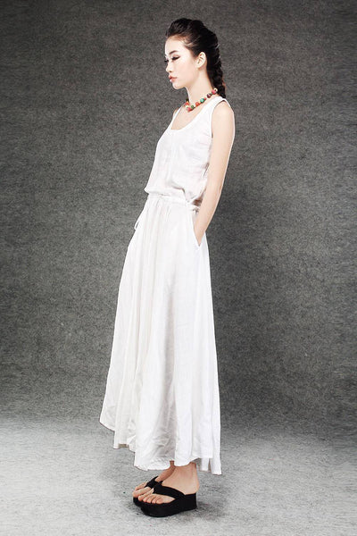 White Linen Summer Dress - Maxi Long Vest Top Sleeveless Pinwheel Dress with Drawstring Waist Sundress (C070)