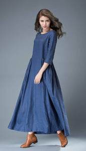 Maxi Blue Linen Dress - Cobalt Long Spring Summer Handmade Casual Everyday Woman's Dress with Half Sleeves C803
