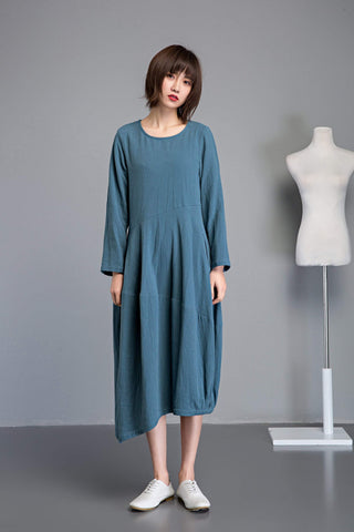 linen loose summer dress with long sleeves and pockets C1235