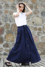 Load image into Gallery viewer, Blue skirt, Maxi skirt, linen skirt, wrap skirt, linen wrap skirt, womens skirt, pockets skirt, linen skirt women, maxi  linen skirt C333