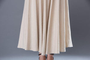 Beige maxi linen skirt, long linen skirt, womens linen skirt, ankle length skirt, maxi skirt, skirt with pockets, summer long skirt (C893)