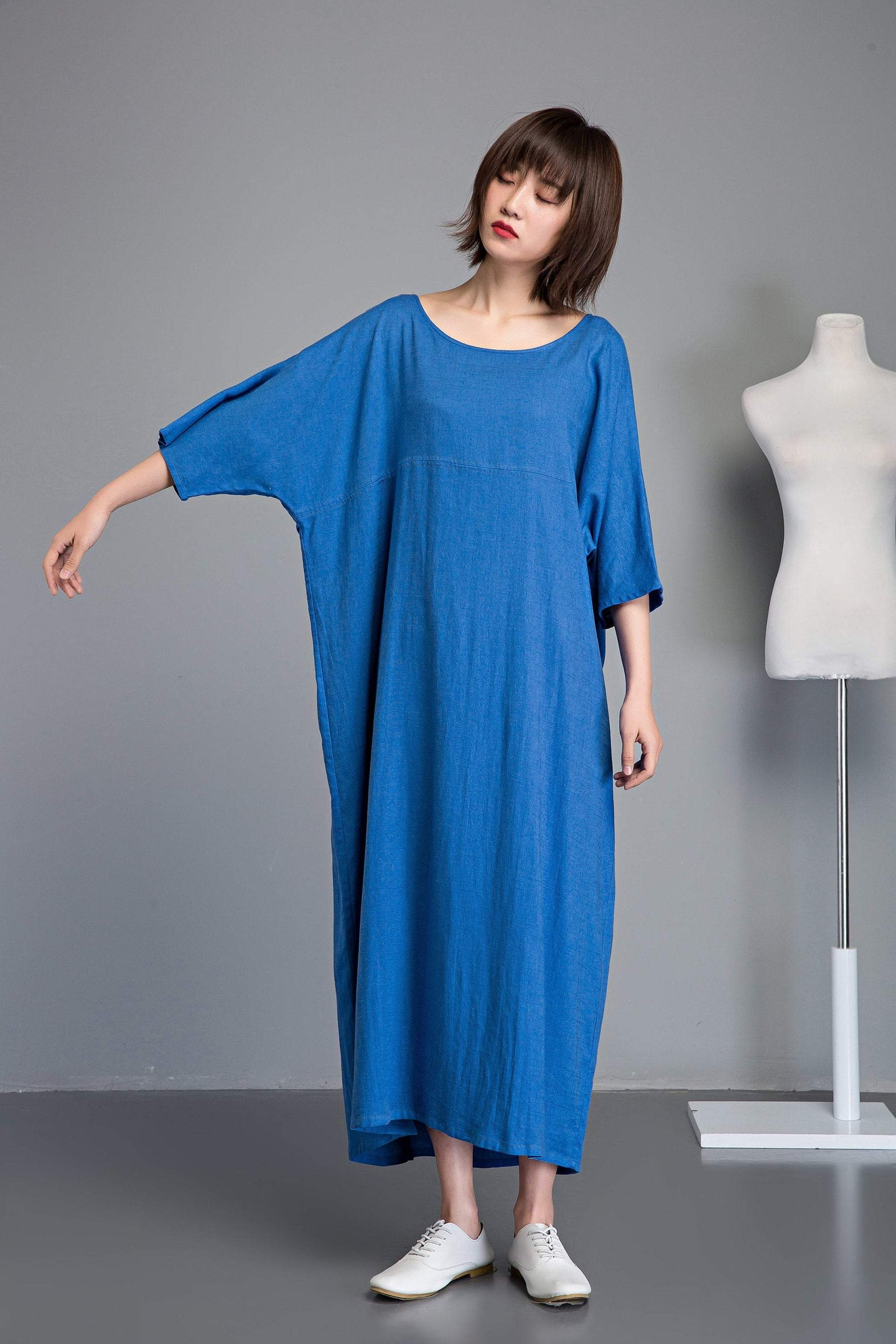 Blue linen dress, Plus size linen dress, linen dress, long sleeve dress, long linen dress, loose linen dress, summer linen dress  C1236
