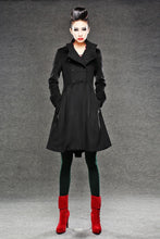 Load image into Gallery viewer, Red Military Coat - Fit-and-Flare Cashmere Wool Swing Coat with Cinched Waist and Large Turn-Back Cuffs (C788)