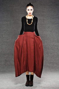 Red Linen Maxi Skirt - Long Length with Asymmetrical Hemline, Ruched Detail and Deep Side Pockets Fall Autumn/Winter Fashion C050