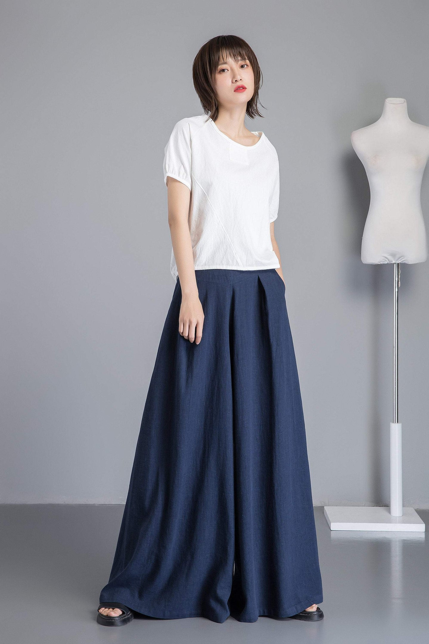 Blue linen pants, winde leg linen pants for womens,  loose and casual bule linen pants for summer, handmade plus size linen pants C1265