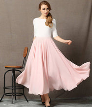 Load image into Gallery viewer, Chiffon Skirt, womens skirts, pink chiffon skirt, floaty maxi skirt, chiffon maxi skirt, long chiffon skirt, chiffon wedding skirt C595
