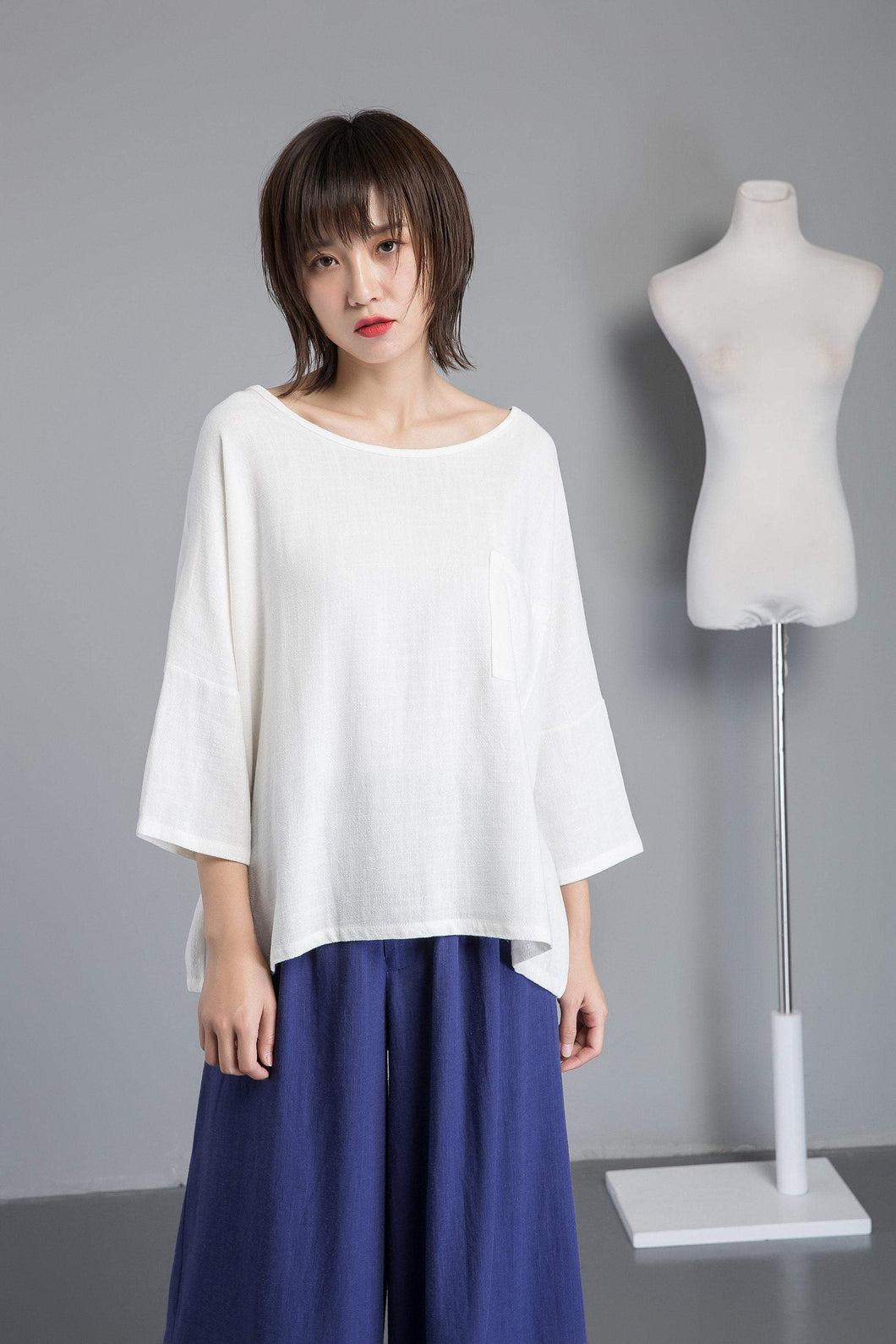 white linen blouse, women blouse with sleeve, loose & casual linen blouse, white linen top for summer - plus size blouse for lady C1270