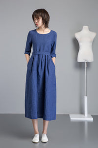 blue linen dress, long fit and flare linen dress for summer, midi sleeves dress for women, handmade fashion blue casual linen dress C1257