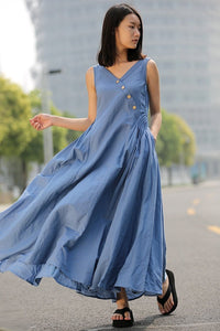 Blue Linen Dress - Maxi Casual Summer Dress Long Length Sleeveless Full Skirt Summer Fashion(C256)
