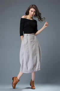 Light gray Skirt, Women's Skirts, Bud skirt, gray linen skirt, skirt with pockets, linen skirt women, casual linen skirt, linen skirt C823