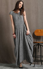 Load image into Gallery viewer, Gray Linen Dress - Long Maxi Boho Style Short Sleeved Shift Dress with Two Large Pockets Spring Summer Fashion (C427)