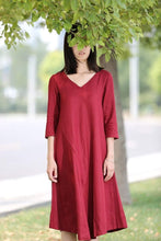Load image into Gallery viewer, Red Linen Dress - Midi Length Loose-Fitting Plus Size V-Neck Casual Everyday Comfortable Womens Clothing C264