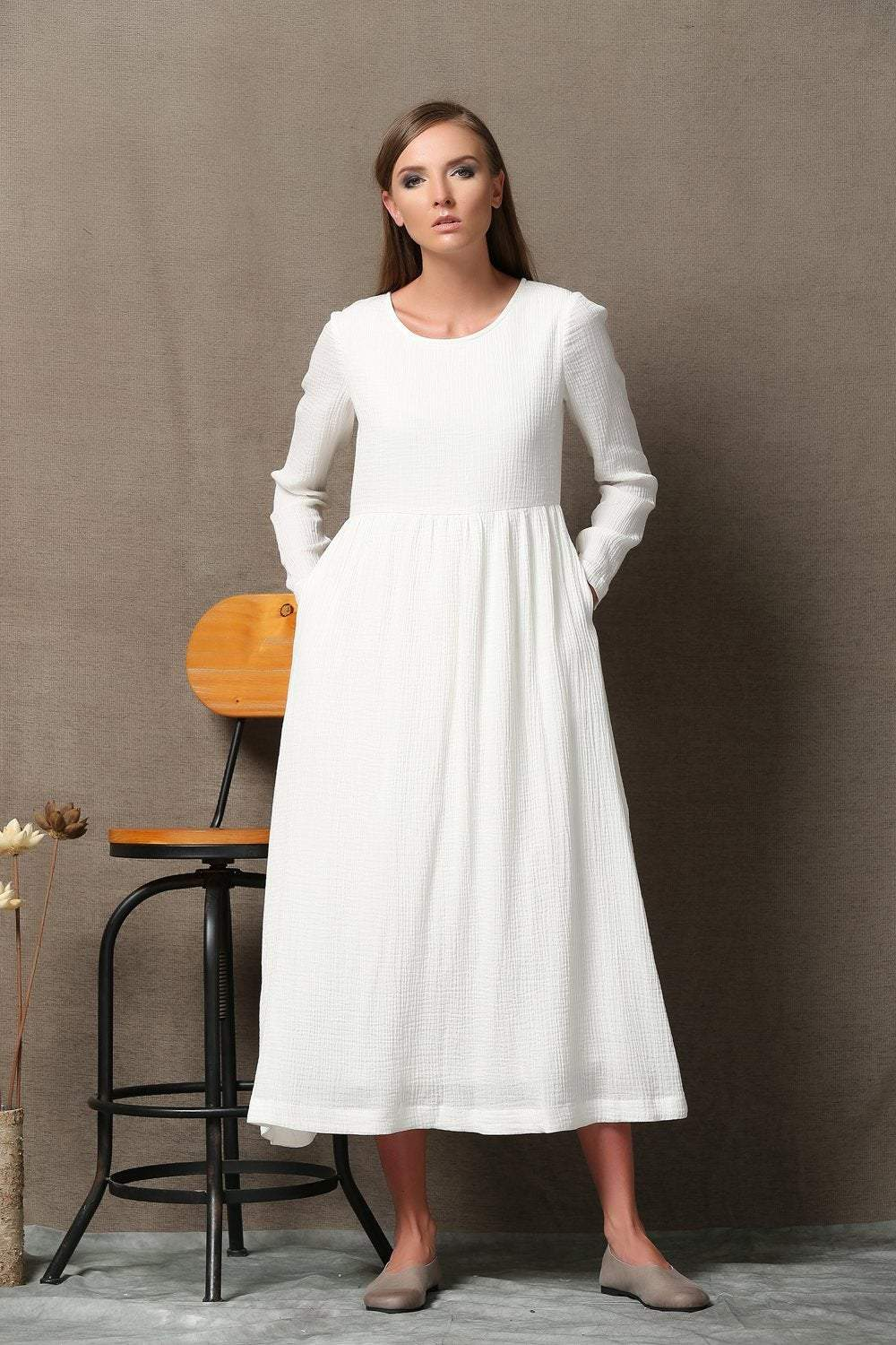 white linen dress, linen dress, white dress, long sleeved dress, long linen dress, loose dress, women dress, linen dress women C555