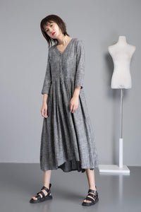 Linen shirt dress for women, asymmetrical linen tunic dress for summer, gray linen dress with pockets, long V neck dress with buttons C1253