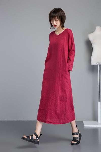 red linen dress for women, long sleeve dress for summer, V neck dress with split hem, handmade long linen dress for elegant lady C1267