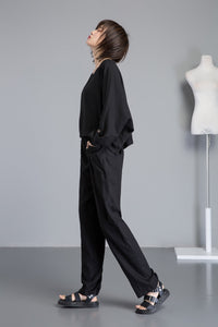 balck linen pants, black long linen pants with pocket, black women linen pants for summer, casual harem linen pants with elastic C1263