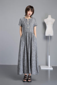 Linen shirt dress with pocket, long gary linen dress for summer, fit and flare linen dress with pleated & buttons, handmade long dress C1252