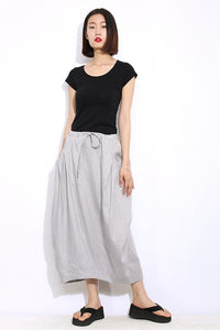 Modern Linen Skirt - Gray Handmade Designer Contemporary Everyday Casual Woman's Skirt with Drawstring Waist Plus Size (C326)