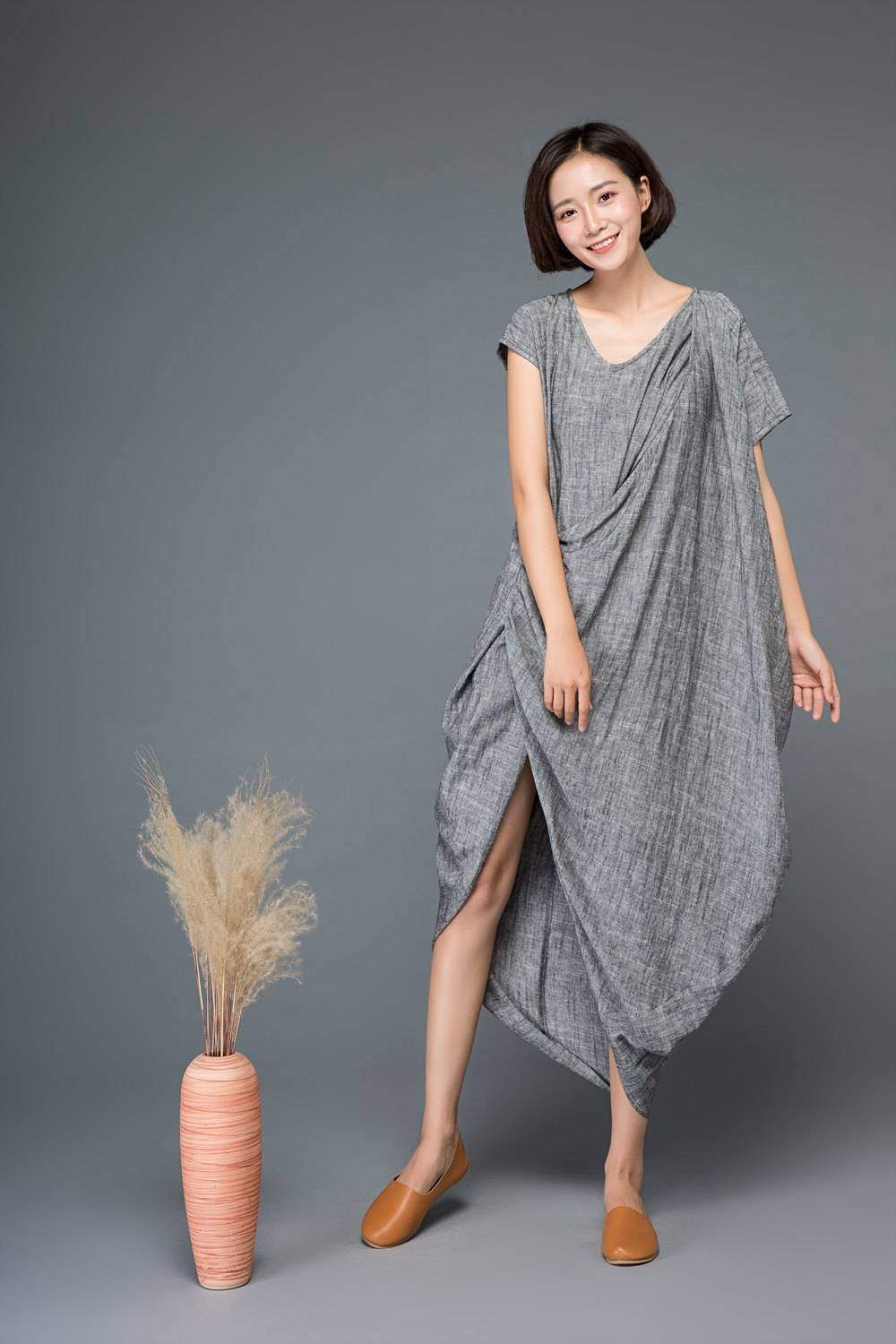 Linen dress, maxi dress, gray dress, asymmetrical dress, summer linen dress, summer dress, womens dress, loose dress, custom dress  C1147