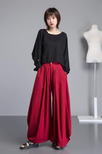 Red linen pants, long linen pants with pockets, handmade fashion wide leg pants, loose and casual pants for elegant women C1261
