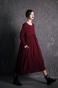 Red Linen Dress – Long Burgundy Loose-Fitting Long-Sleeved Designer Dress with Pockets Plus Size Clothing (C496)