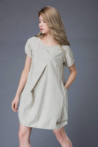 Tunic Tops, tunic dress, mini dress, womens dresses, linen dress, Linen Tunic Dress, Oversized Tunic, linen tunic, womens tunic  C851
