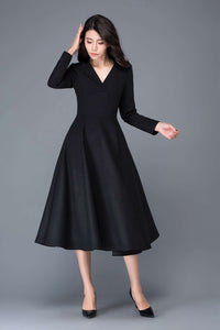 Wool dress, winter dress, black dress, long wool dress, V neck dress, midi wool dress, womens dress, black wool dress, fit dress C1027