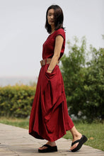 Load image into Gallery viewer, Linen dress, red womens dress, Linen Summer Dress, linen womens dress, dres with pockets, Asymmetrical dress, button dress C255
