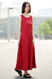 Maxi Red Dress - Linen Sleeveless Cool Comfortable Casual Loose-Fitting Summer Women's Dress with Pintuck Details and Pockets C349