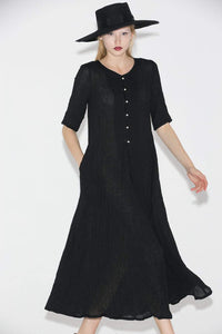 Black Linen Dress - Elegant Long Shirt-Style Loose-Fitted Comfortable Everyday Handmade Dress with Half Sleeves C689