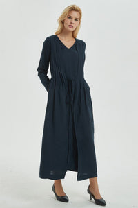 Navy linen dress, linen wrap dress for women - maxi dress with sleeves and pockets, long linen dress for women, V neck dress for lady C1275