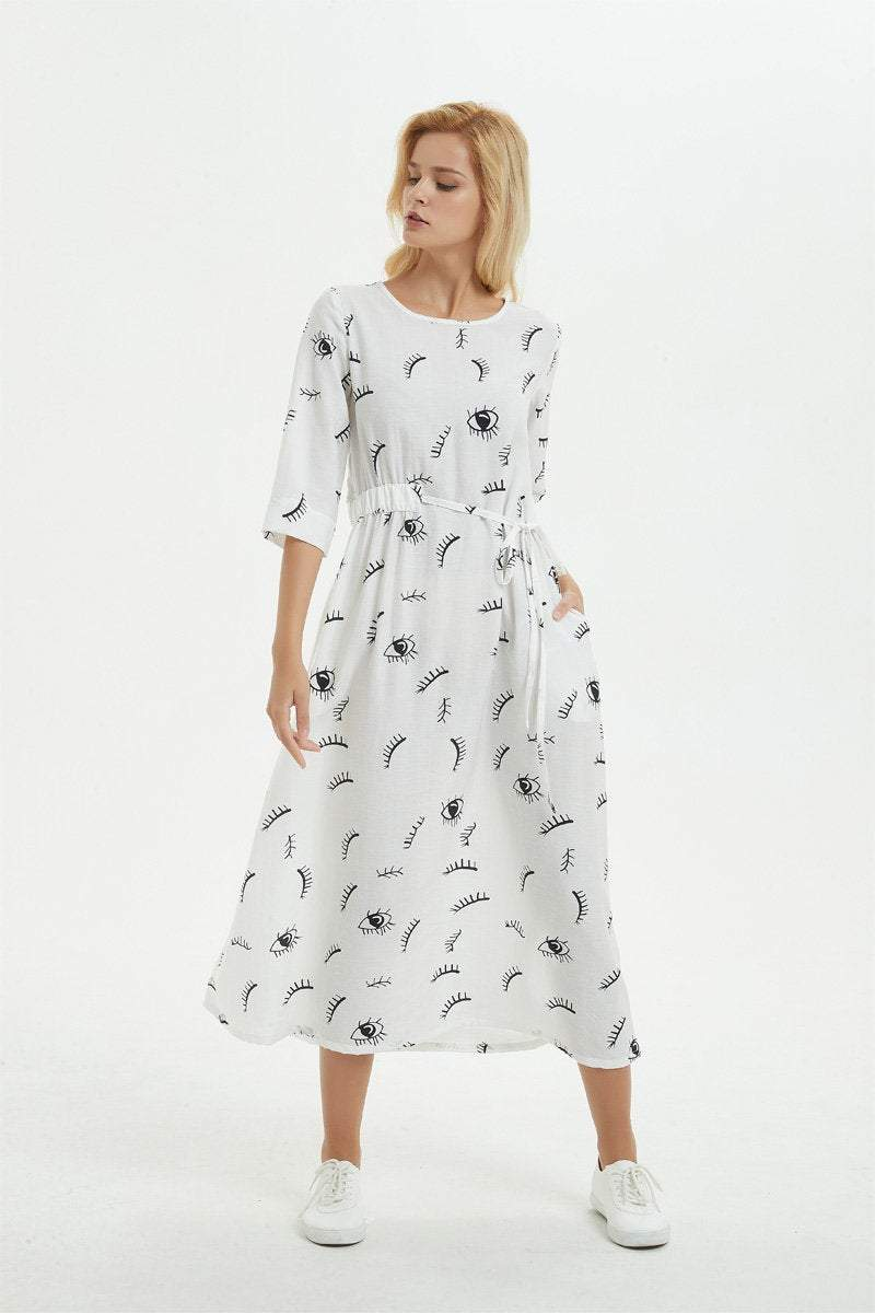 white print dress, maxi dress for women-wrap linen dress with drawstring-dress with pockets, summer linen dress for women, gift for herC1281