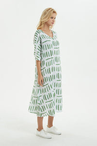 Green print dress, midi dress for women-summer cotton dress with pockets, loose linen dress for summer&long cotton dress C1280